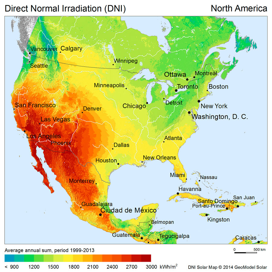 Mapa de irradiación solar México